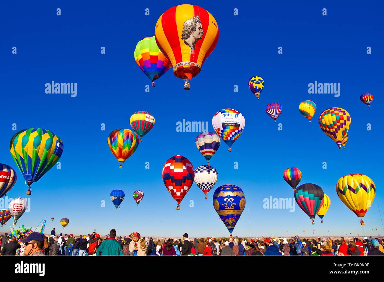 Rising Balloons- Hot Air Balloon Fiesta Albuquerque New Mexico Stock Photo