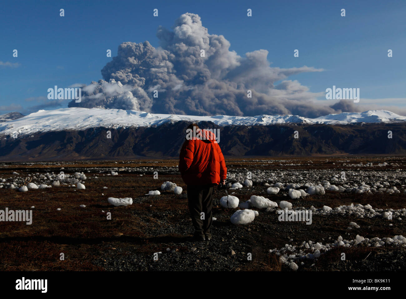 The eruption at Eyjafjallajokull in Iceland April 2010. - Stock Image