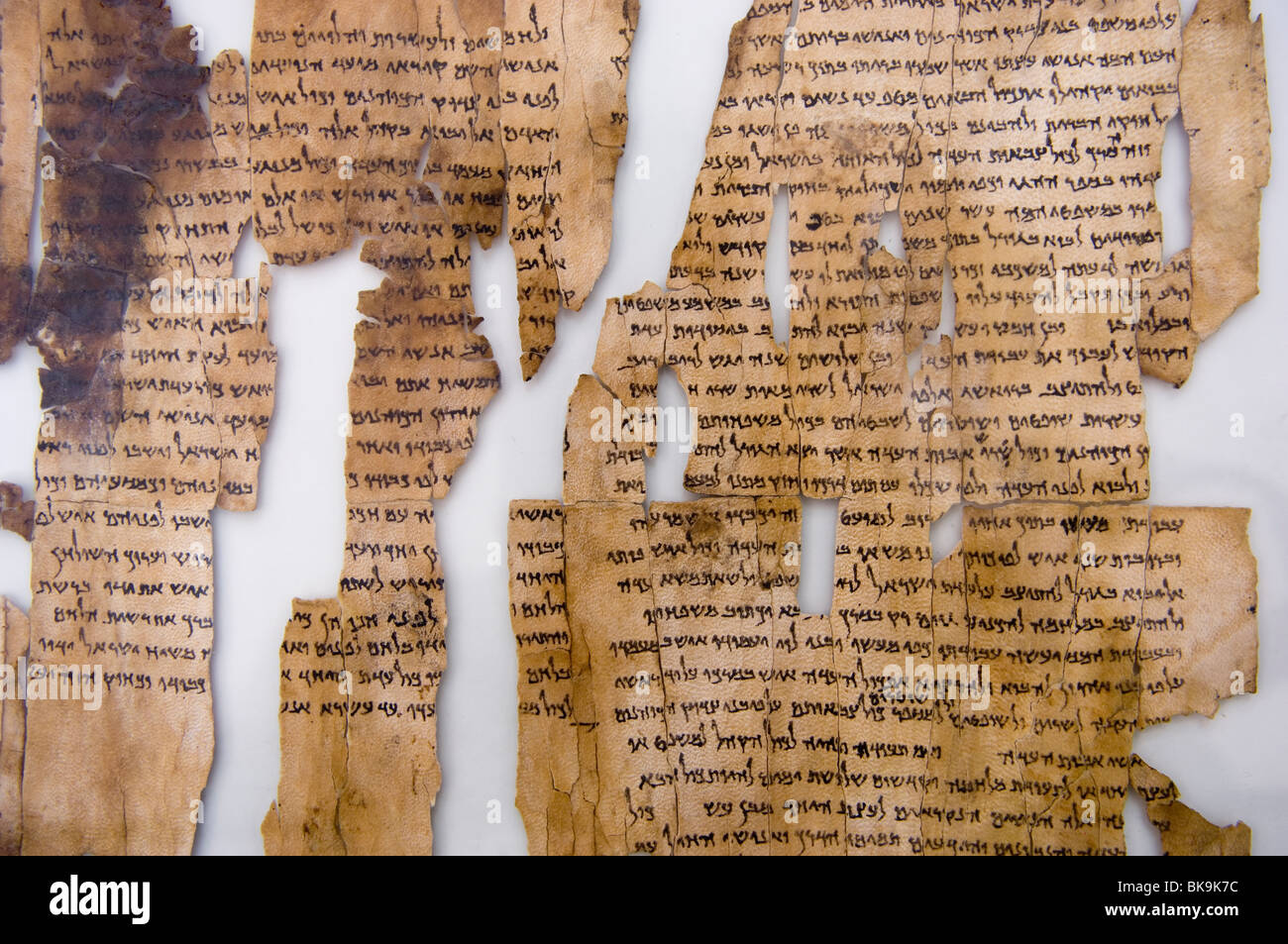 Detail of the Dead Sea Scrolls.  A fragment of Isaiah.  National Archeological Museum, Amman, Jordan. - Stock Image