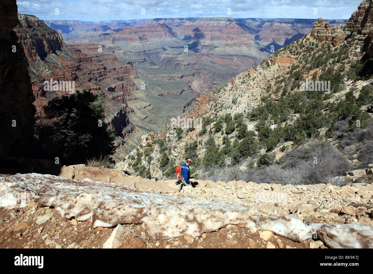Man walking on the South Kaibab Trail in the Grand Canyon - Stock Image