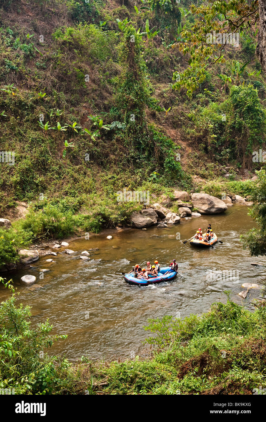 Rafting on the Mae Tang River in rural Chiang Mai Province, Thailand. - Stock Image