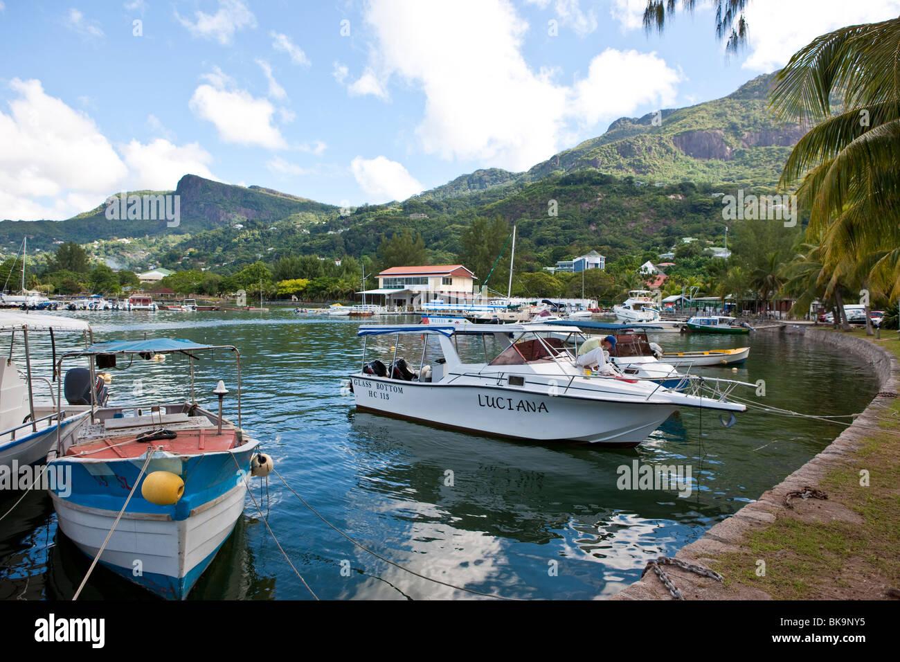 Yacht Club, Seychelles Marine Charter Association on 5th June Avenue, the capital city of Victoria, Mahe Island, - Stock Image