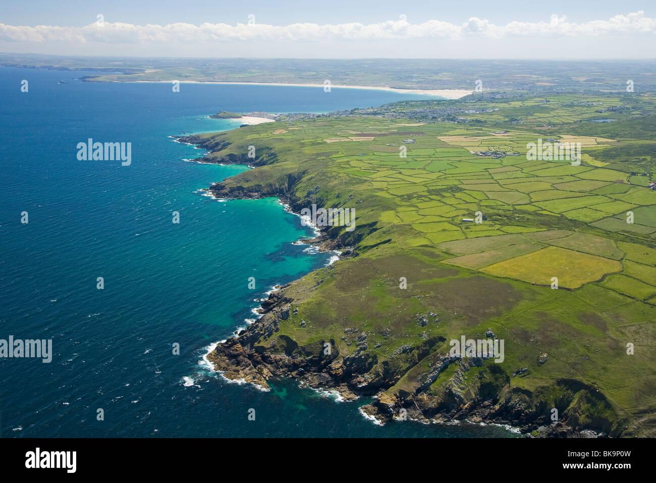 St Ives coastline, Lands End Peninsula, Cornwall, United Kingdom - Stock Image