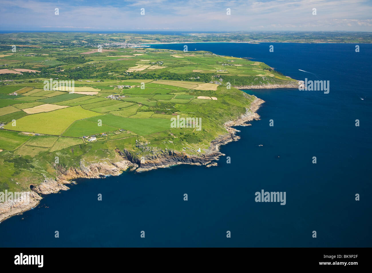 Lands End Peninsula looking to Penzance in summer, Cornwall, United Kingdom - Stock Image