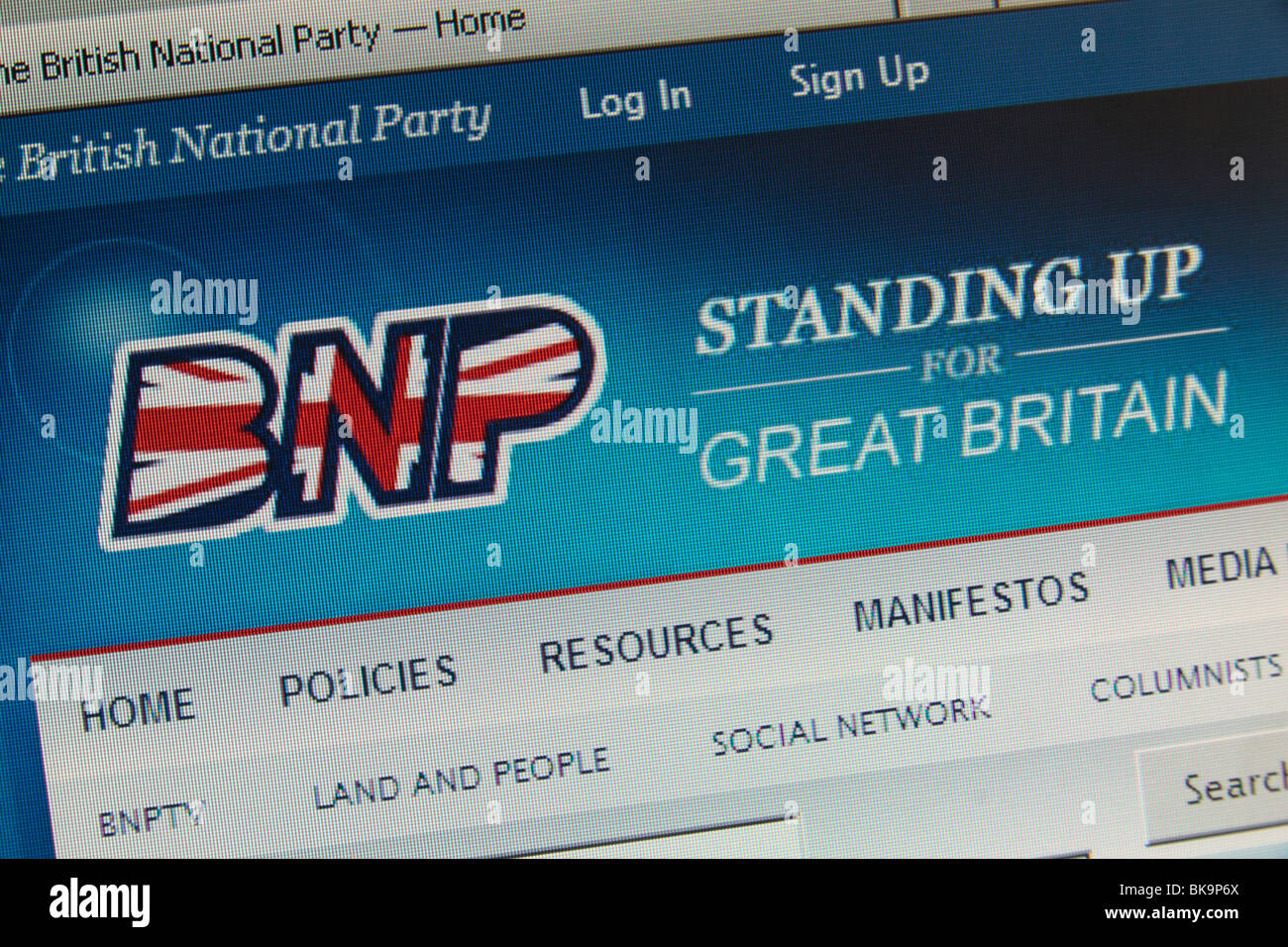 Screen shot of the British National Party's (BNP) web site with 'Standing Up for Great Britain' slogan. - Stock Image