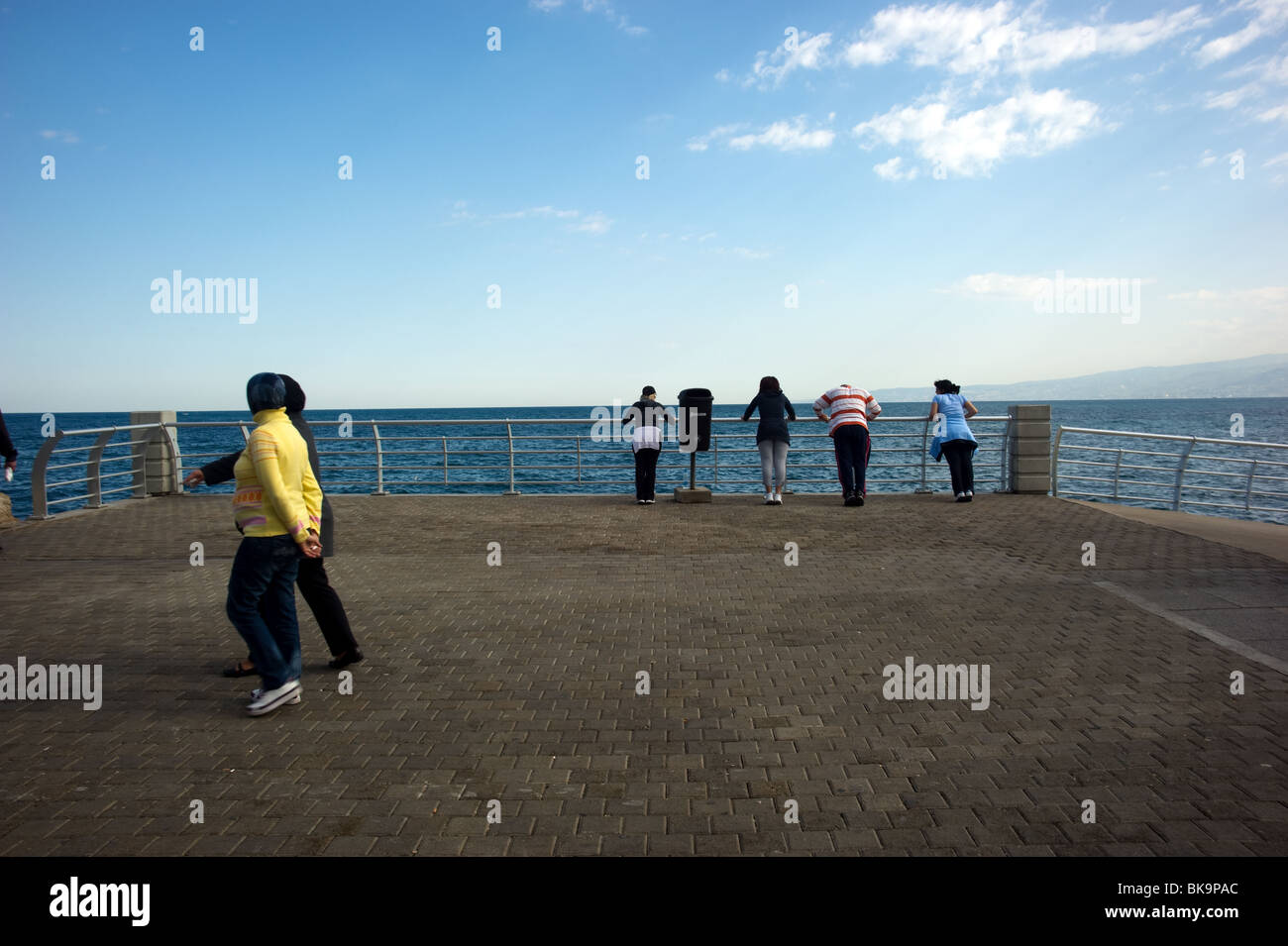 Beirut residents jogging and marching at Beirut cornice Lebanon - Stock Image