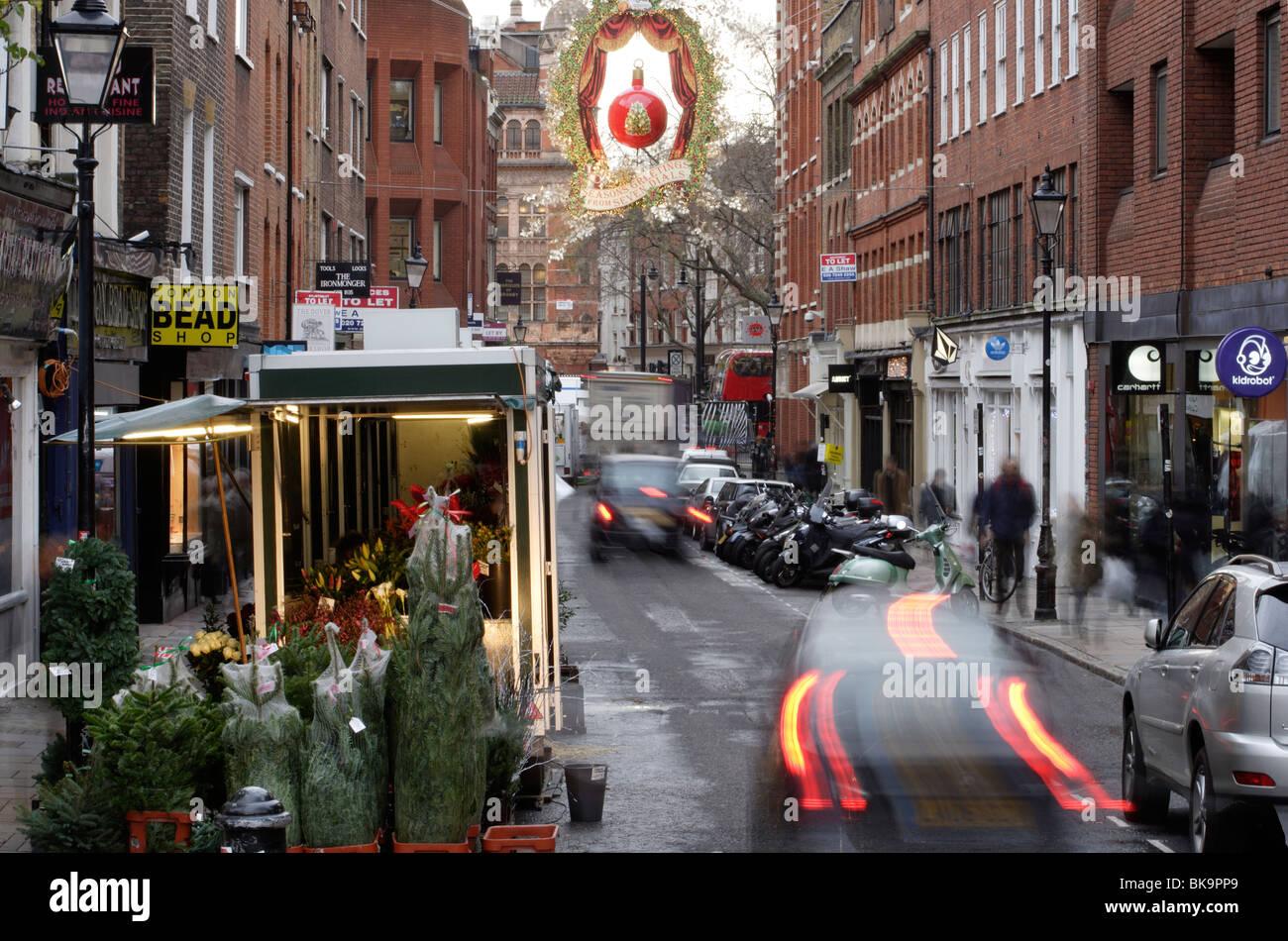 Earlham Street, Seven Dials, London at Christmas - Stock Image