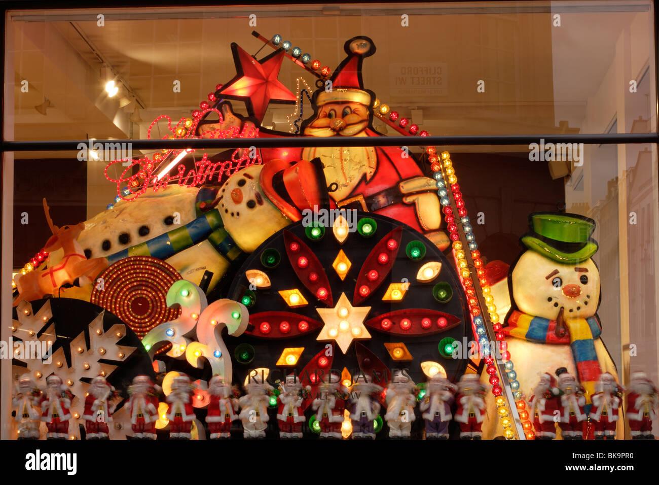 Richard James, Saville Row Christmas window display. - Stock Image