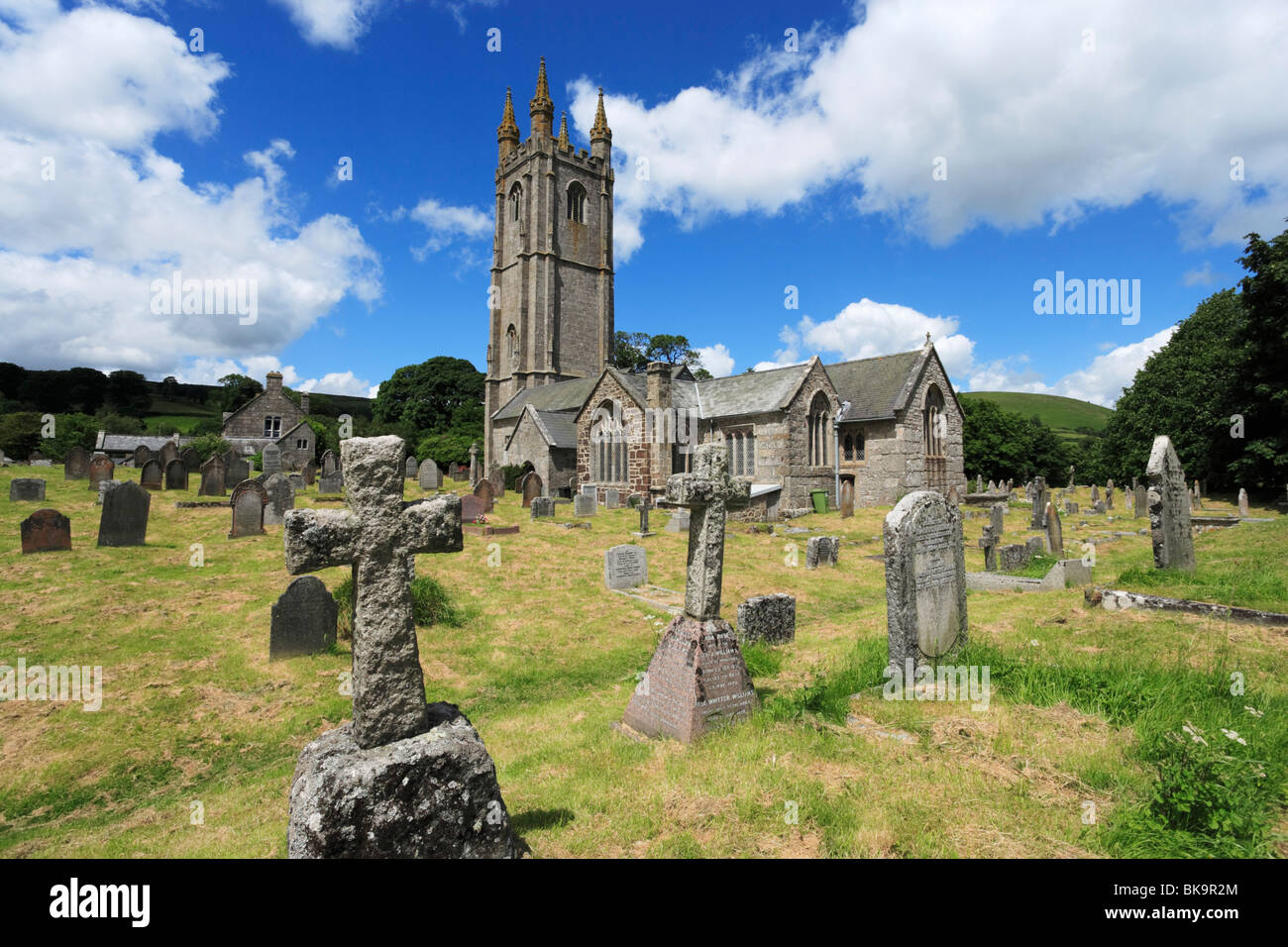 The church of St Pancras, Widecombe-in-the-Moor, Dartmoor National Park, Devon, England, United Kingdom - Stock Image