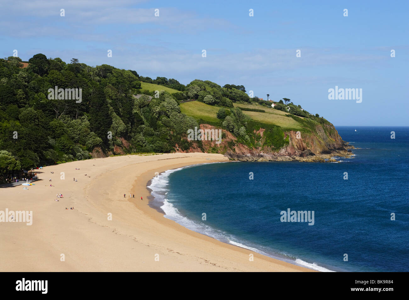 View over Blackpool Sands, Devon, England, United Kingdom - Stock Image