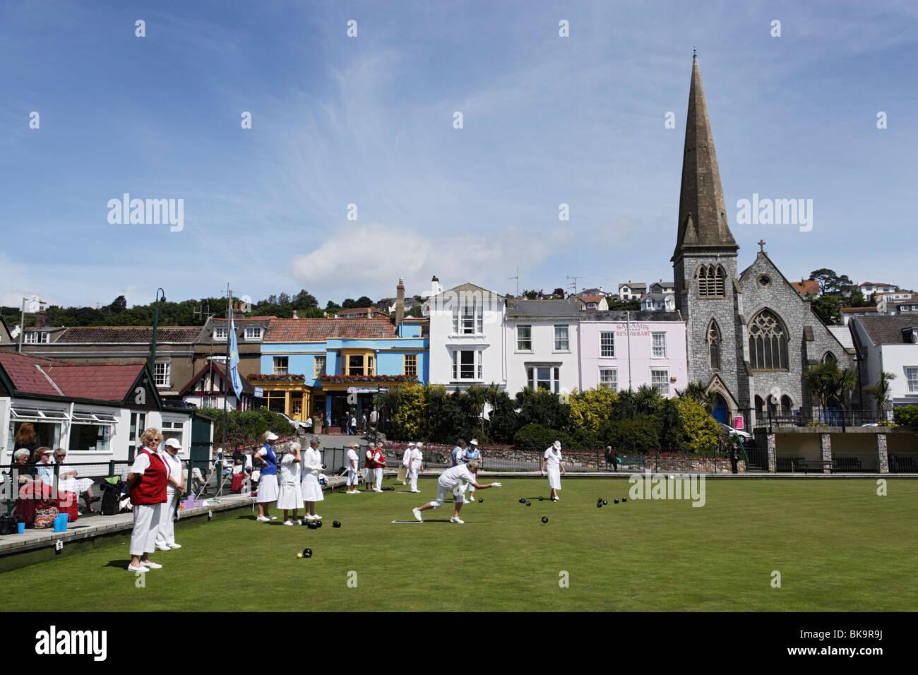 People bowling, Dawlish, Devon, England, United Kingdom - Stock Image