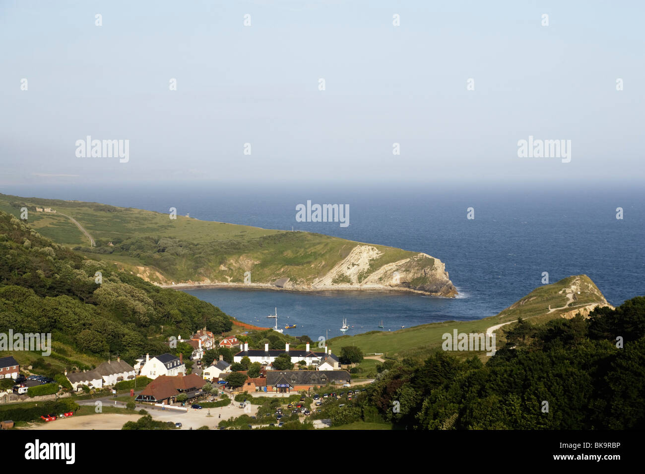 High angle view of the Lulworth Cove, Dorset, England, United Kingdom Stock Photo