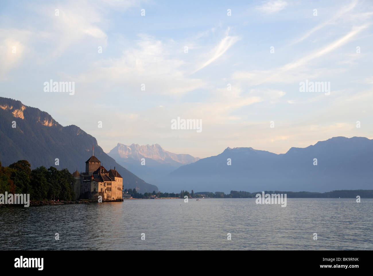 Chillon Castle at Lake Geneva, Dents Du Midi, Veytaux, Vaud, Switzerland - Stock Image