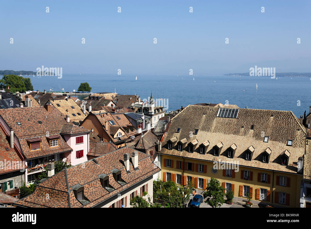 View over roofes of Nyon to lake Geneva, Nyon, Canton of Vaud, Switzerland - Stock Image