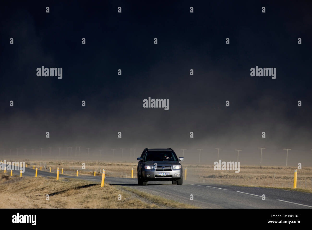 Black clouds of volcanic ash coming from the volcanic eruption in Eyjafjallajokull, Iceland - Stock Image