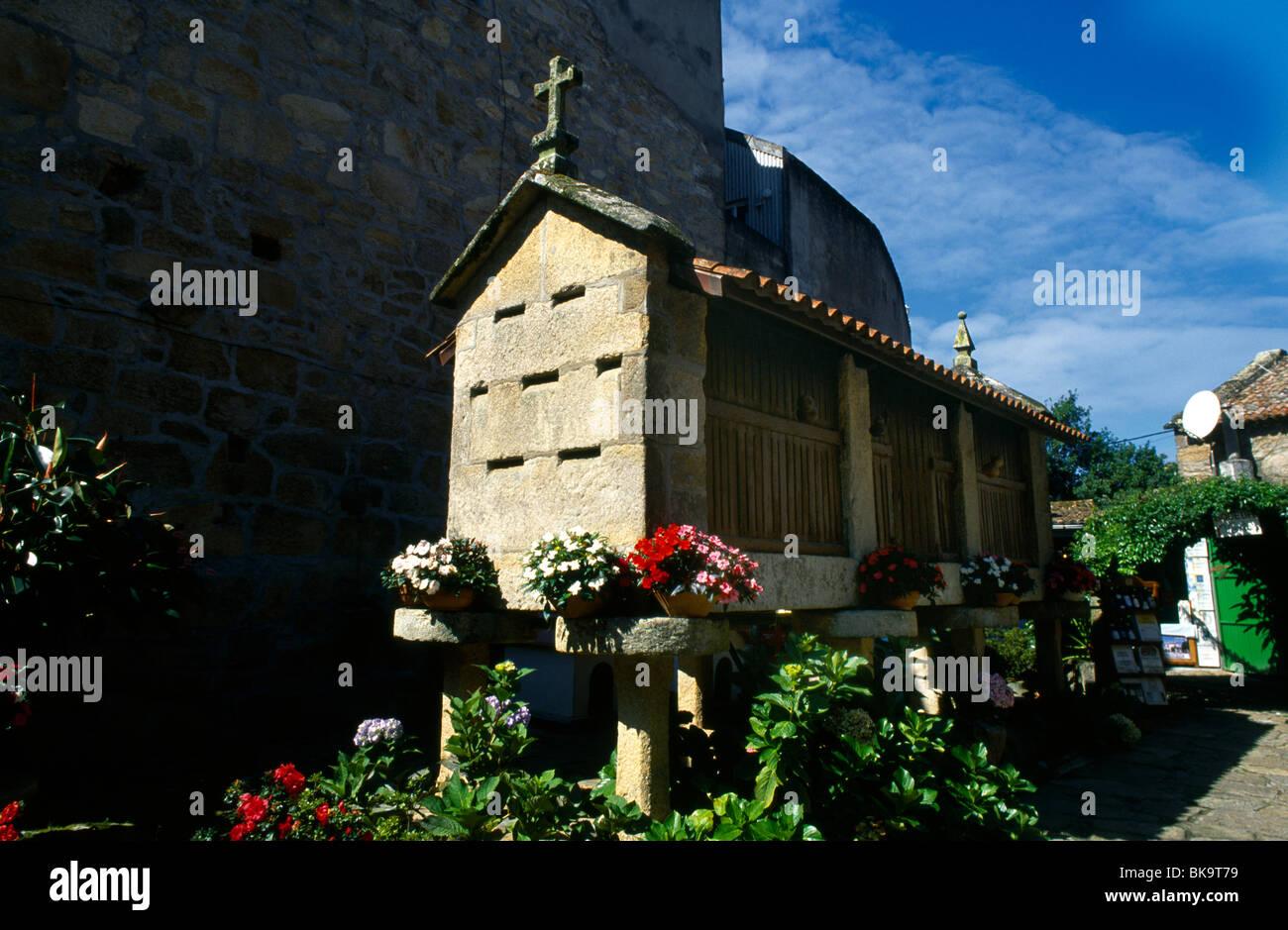 Galicia Spain Cambados Horreo Galician Grainstore - Stock Image