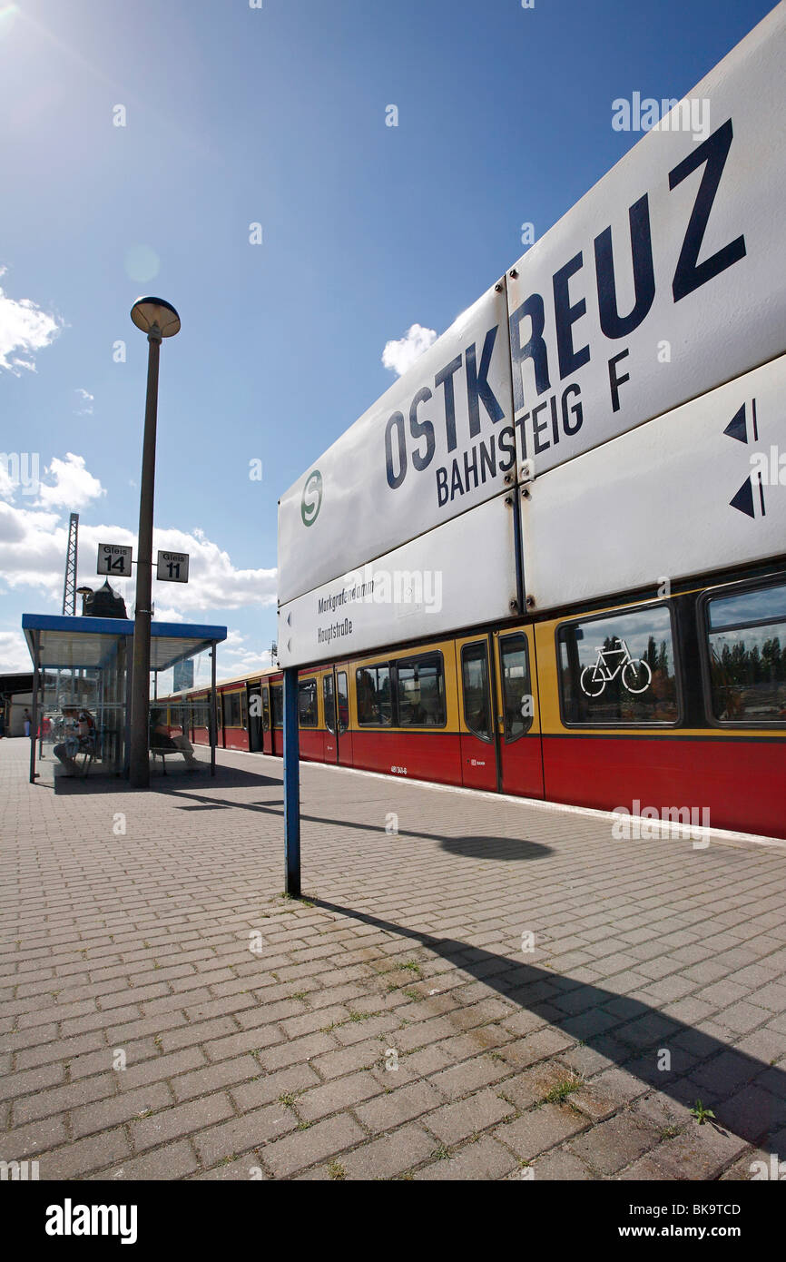 Platform F, Ostkreuz train junction in Berlin, Germany, Europe Stock Photo