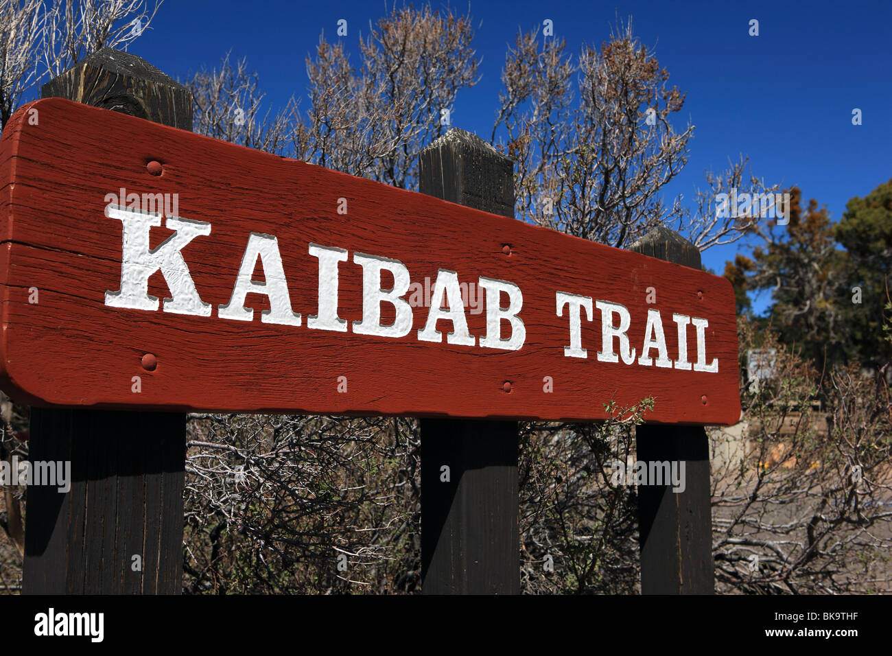 Sign at the start of the South Kaibab Trail at the South Rim of the Grand Canyon in Arizona - Stock Image