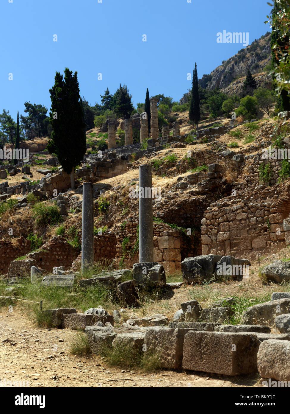 Ancient Delphi Mount Parnassus Sterea Ellada Greece Stock Photo