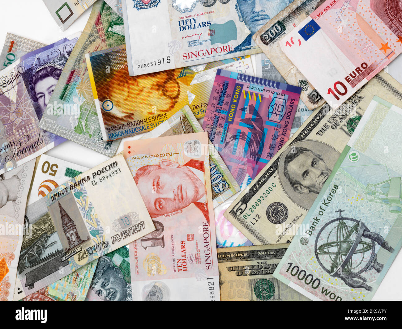 Mixed Currency Banknotes Stock Photo