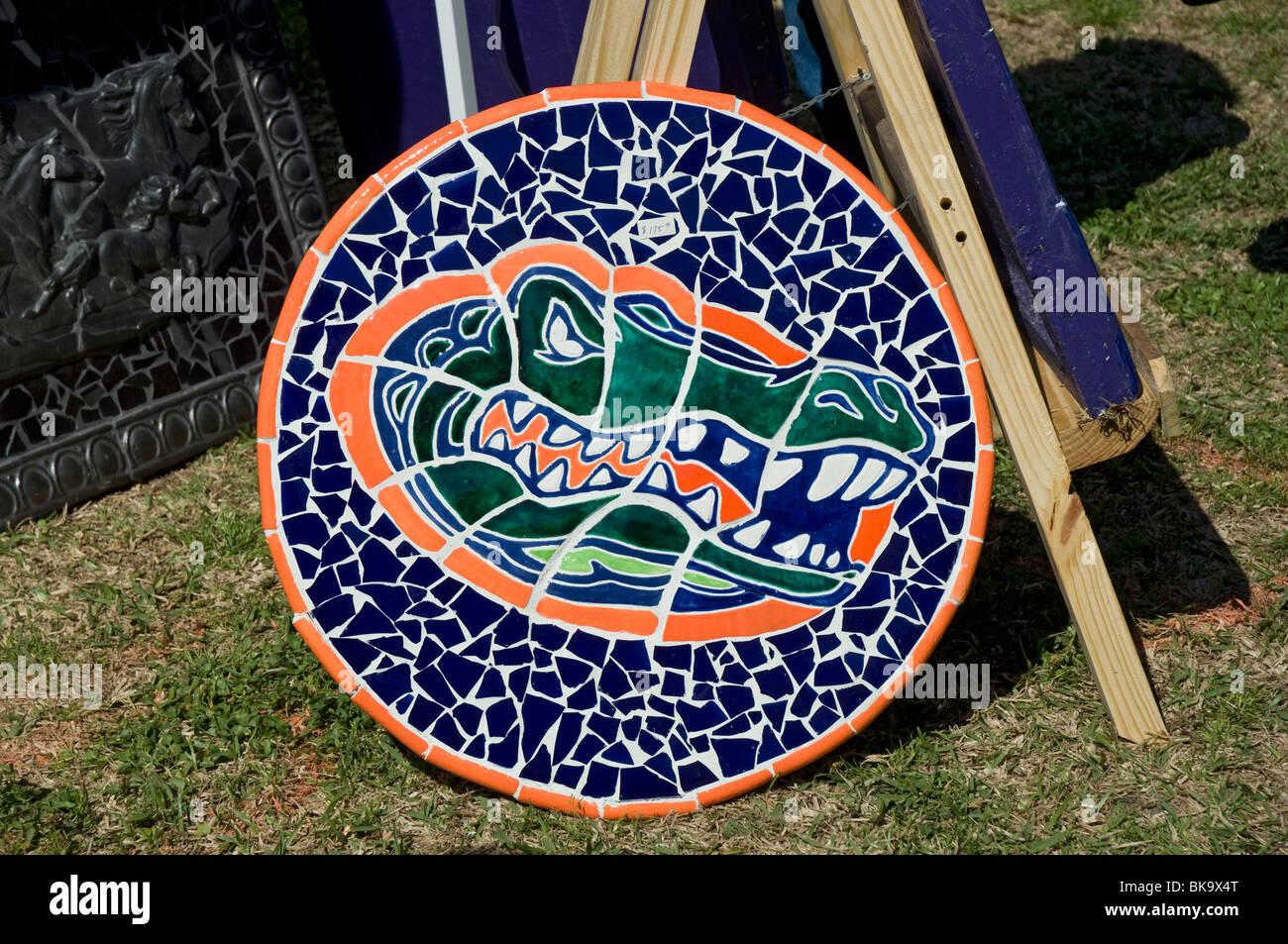 Kanapaha Spring Garden Festival Gainesville Florida Gator symbol art artwork mosaic glass pieces mascot - Stock Image
