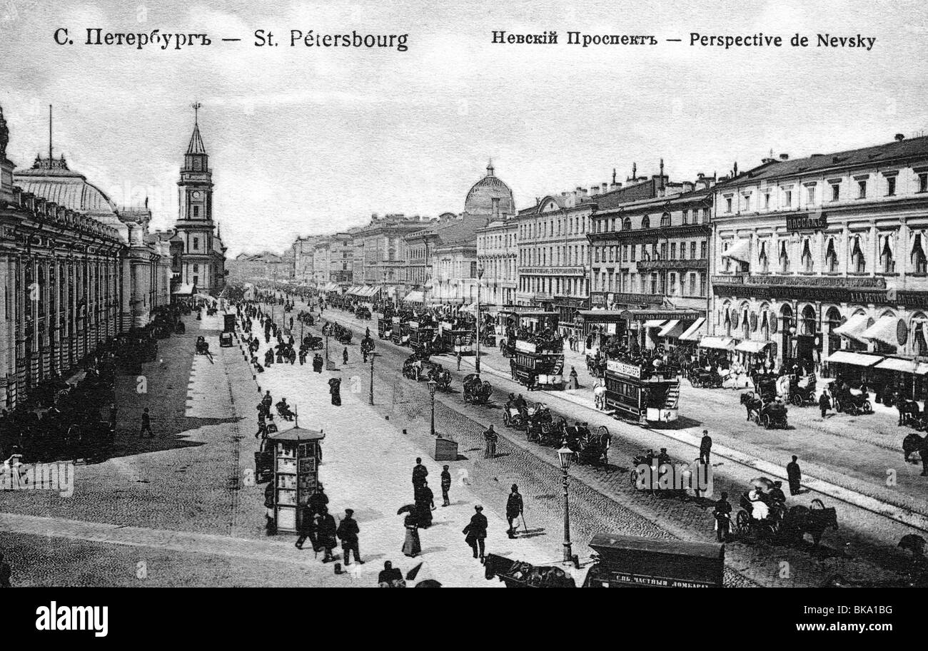 geography / travel, Russia, Saint Petersburg, Nevsky Prospekt, picture postcard, 1909, Additional-Rights-Clearances - Stock Image