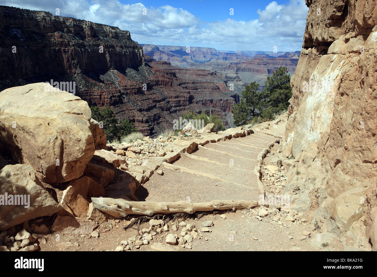 Path on the Kaibab Trail in the Grand Canyon National Park - Stock Image