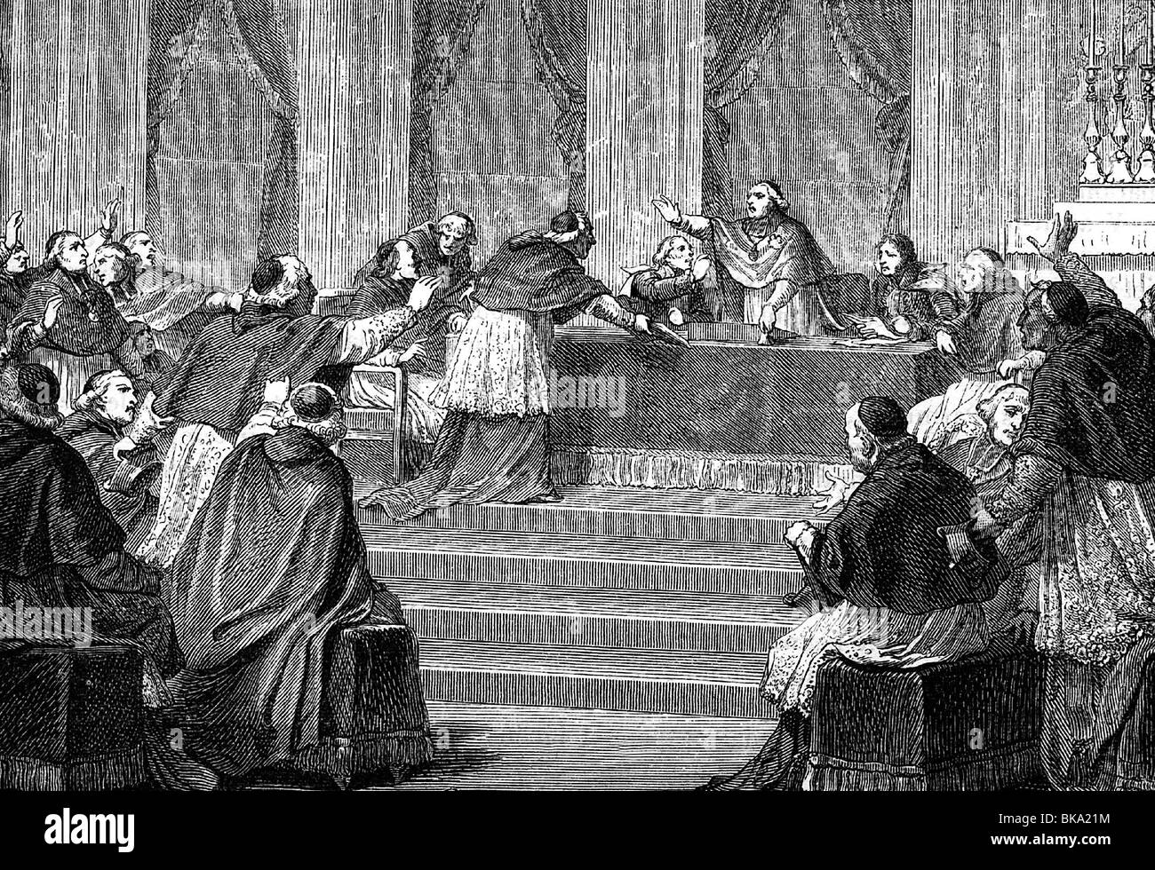 religion, Christianity, Catholic, councils, 1st Vatican Council, 8.12.1869  - 18.7.1870, conference at 10.7.1870, - Stock Image