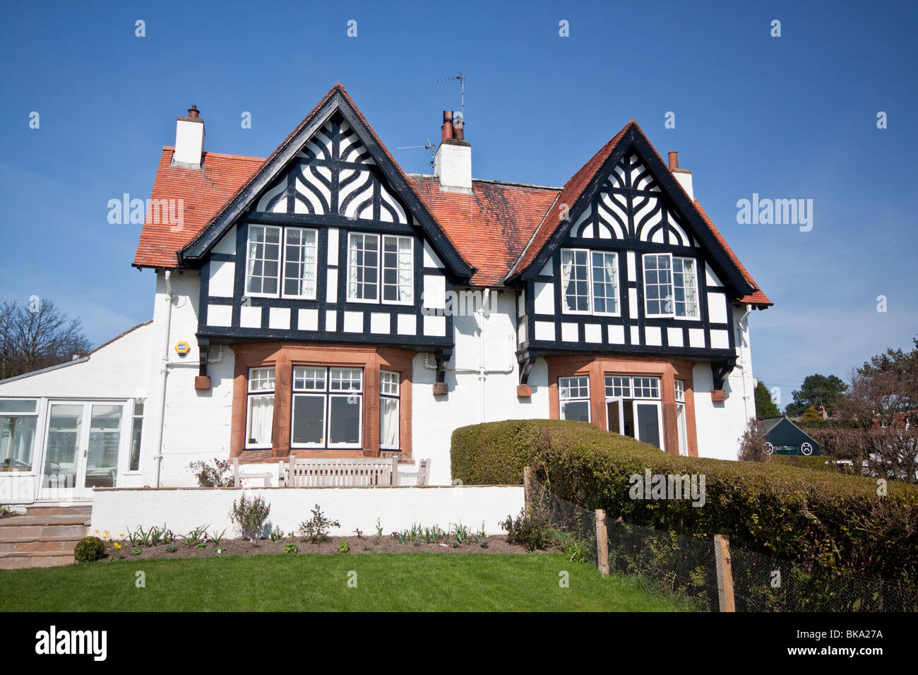Half Timber Houses in the Pretty Village of Gullane East Lothian, noted for its golf courses - Stock Image
