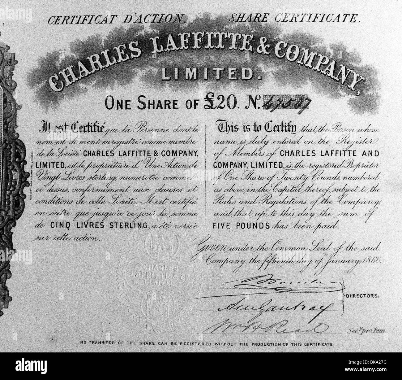 money / finance, stocks, share certificate of Charles Laffitte and Company Limited, share about 20 pound, No. 47507, - Stock Image