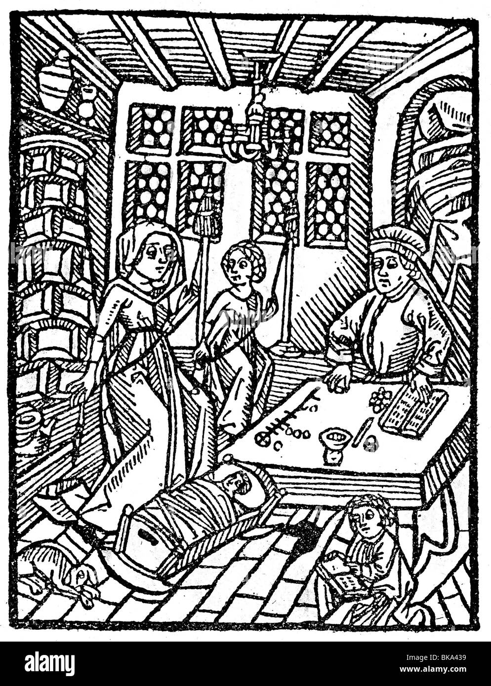 trade, merchants, merchant with abacus and family, woodcut from 'Regiment of the young children', Augsburg, - Stock Image