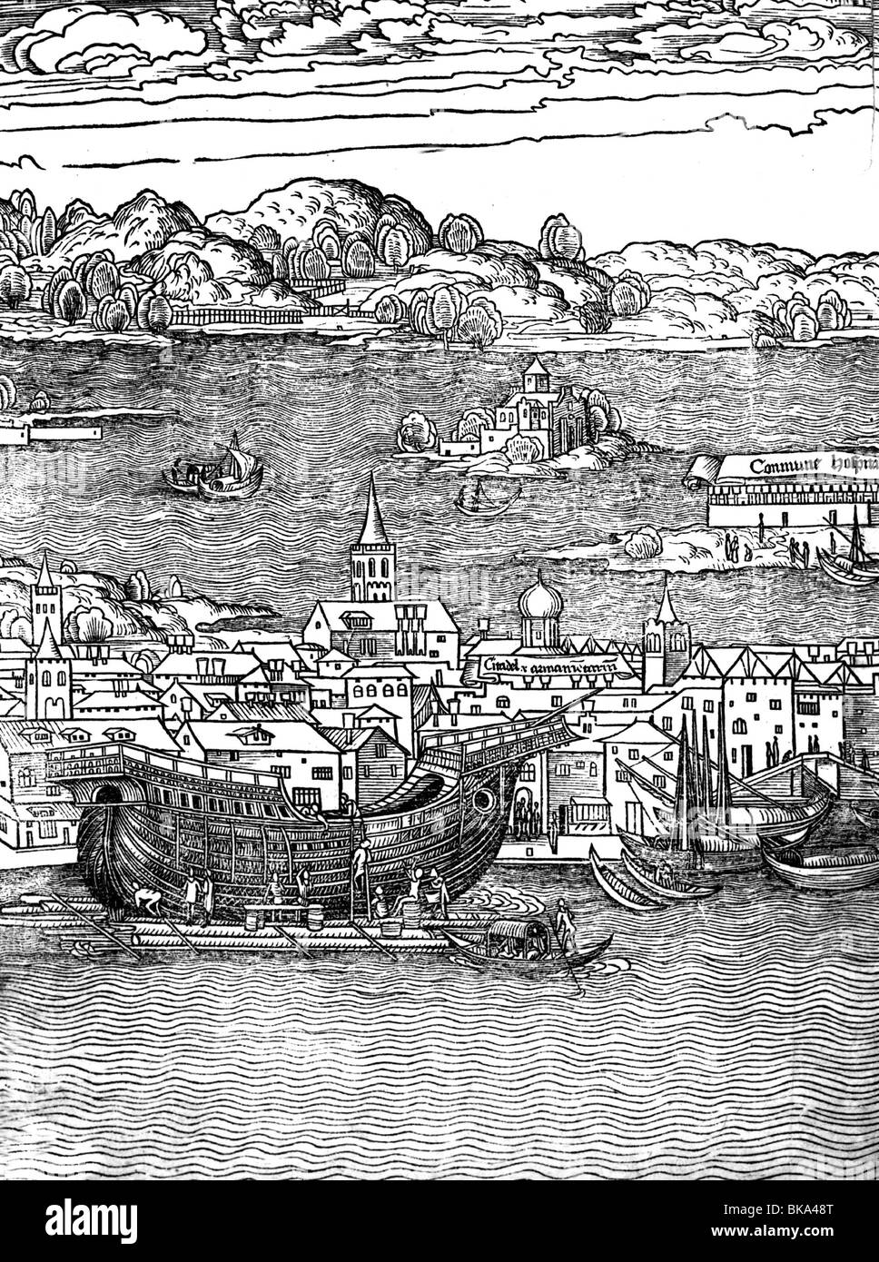 geography / travel, Italy, Venice, Arsenal (armoury), shipbuilding on dockyard, woodcut of the itinerary by Bernhard - Stock Image