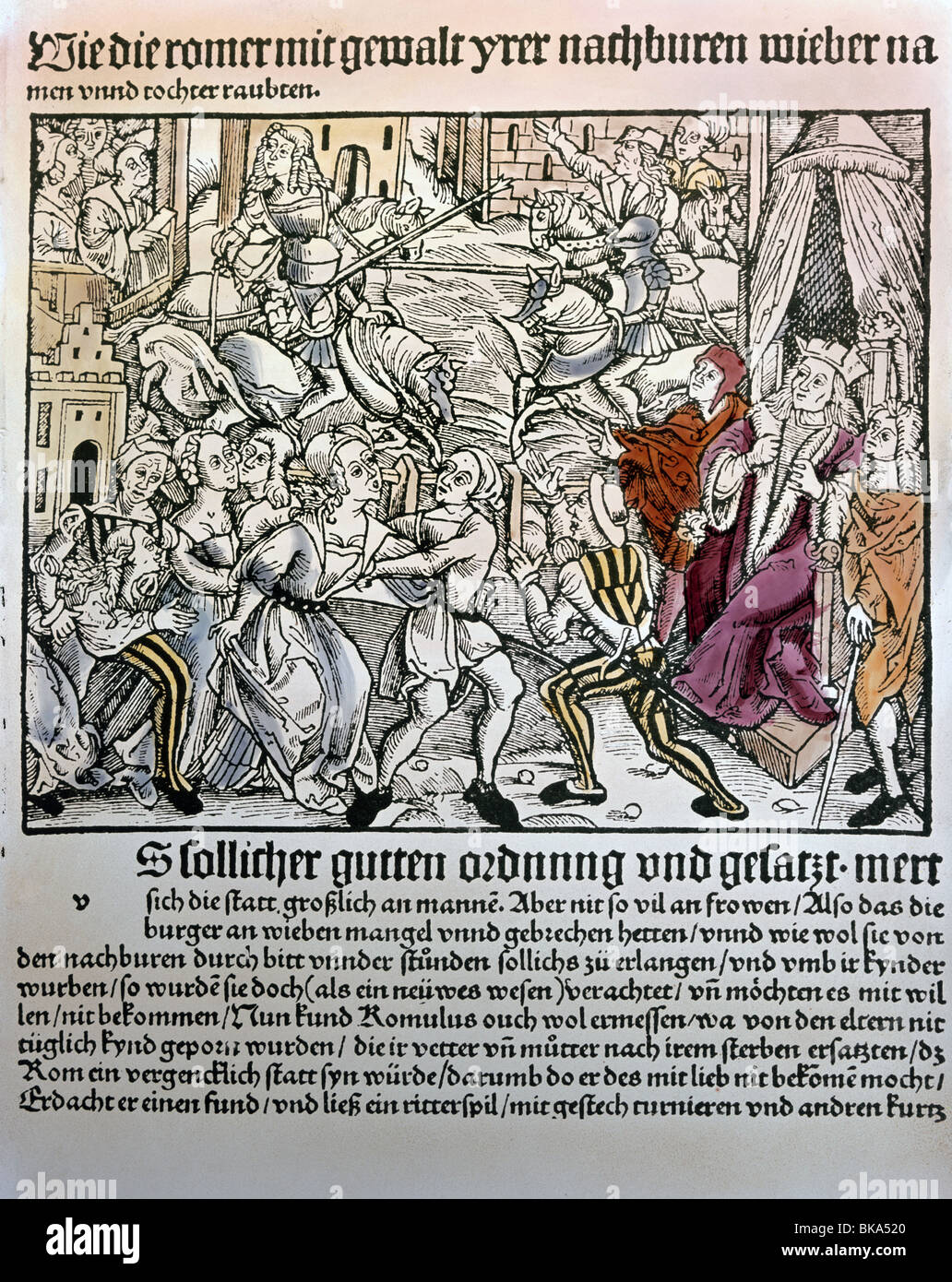 literature, 16th century, book illustration of 'War with the Sabines', chronicle, Southern Germany, circa - Stock Image