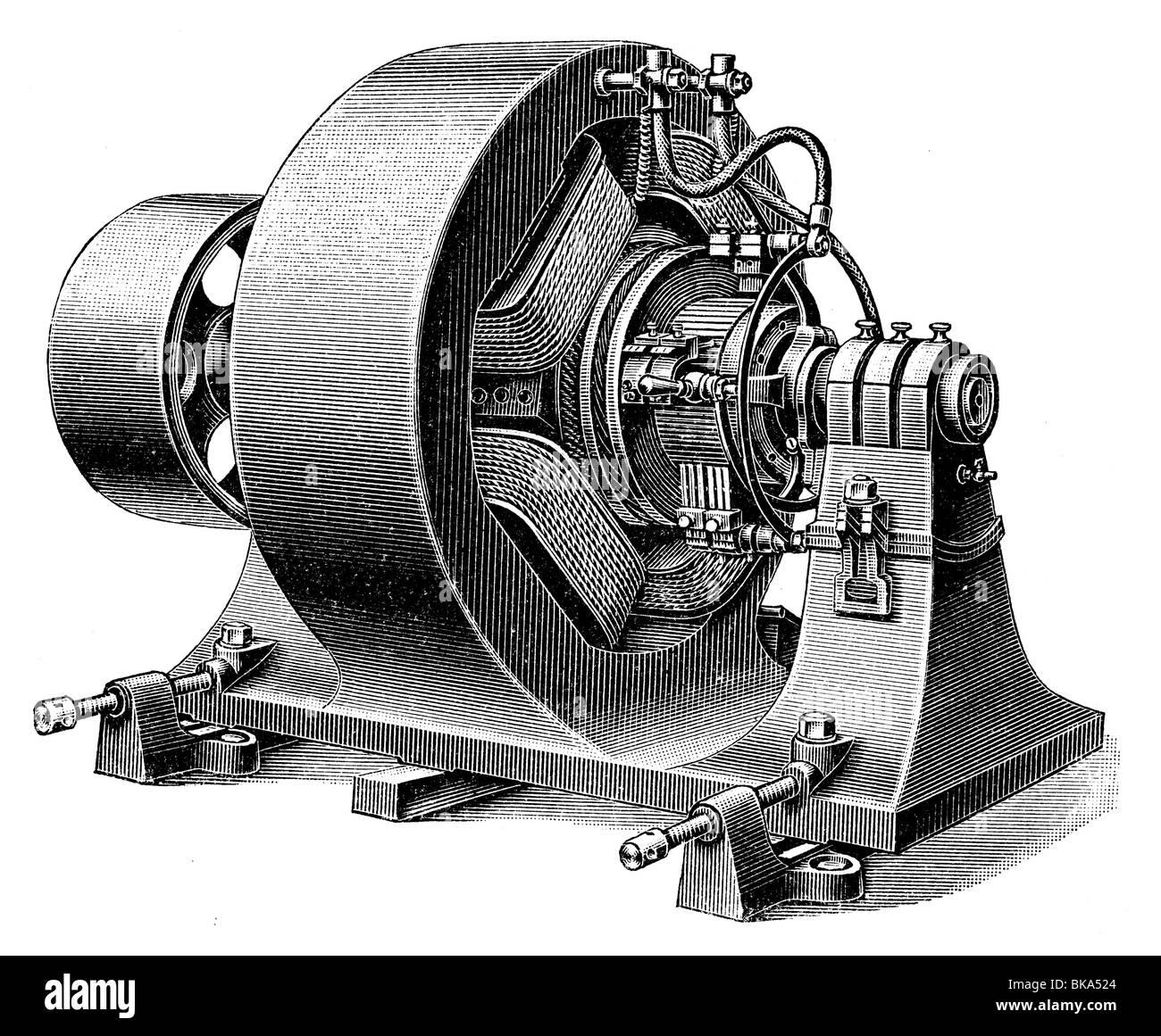 4-pole Brushed DC electric motor - Stock Image