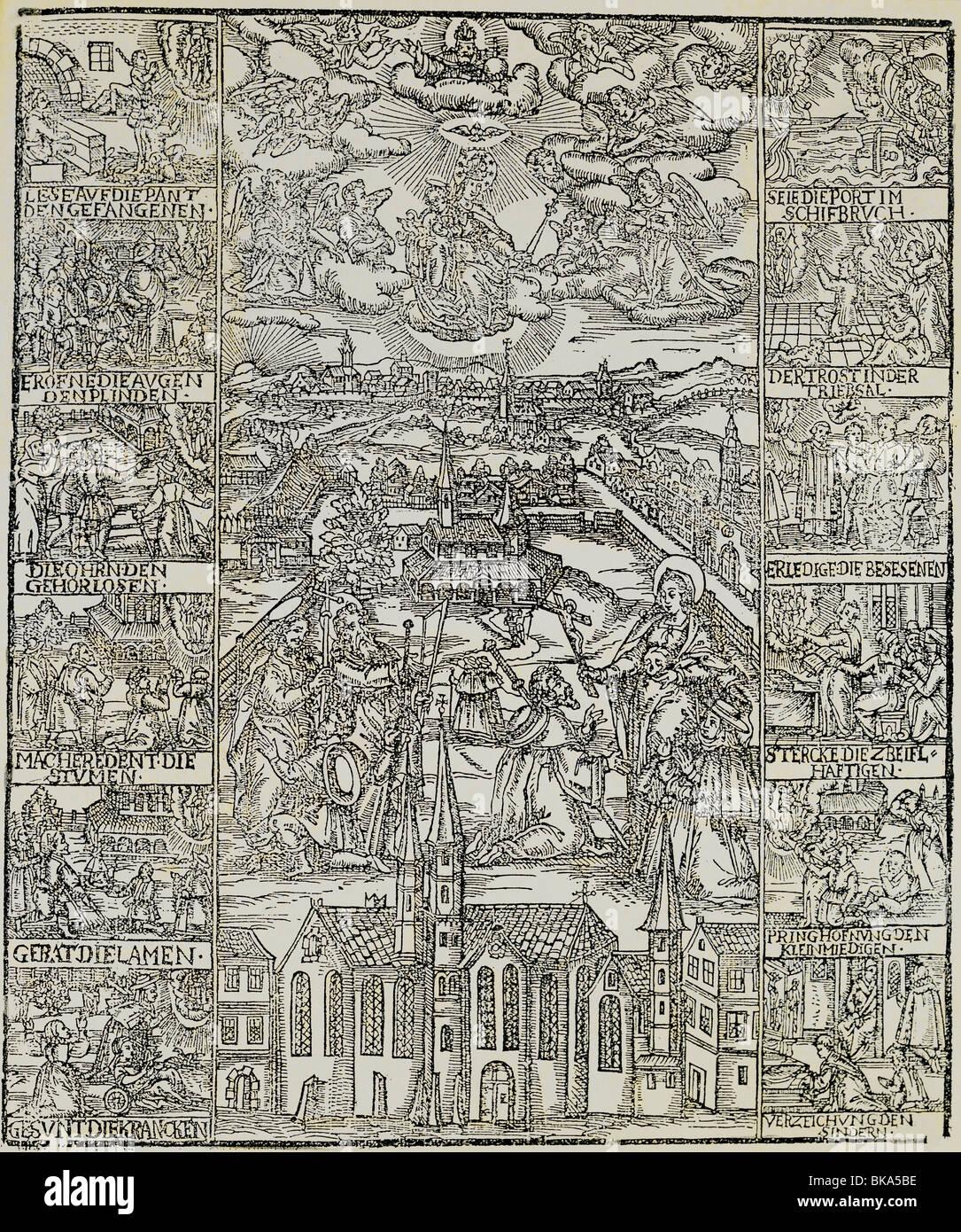 religion, christianity, pilgrimage, Altötting, woodcut, Master of the Danube School, circa 1540, Additional - Stock Image