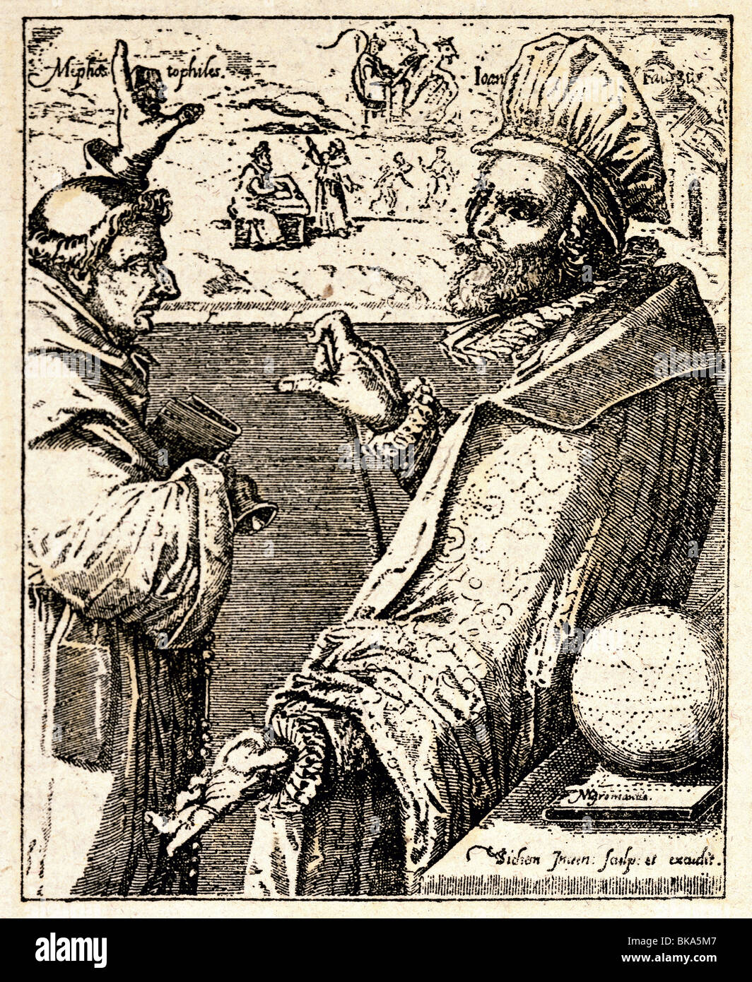 Faust, Johannes, birth name Georg, circa 1480 - circa 1540, German magician, astrologer, fortuneteller, with Mephistopheles - Stock Image