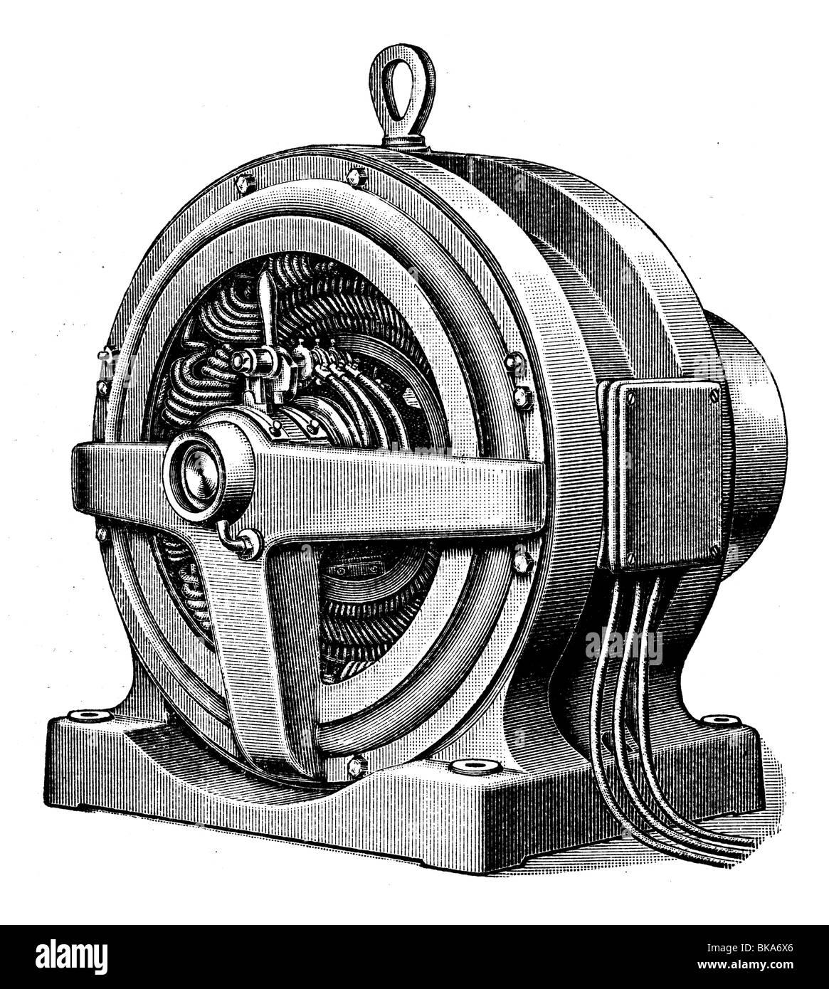AC motor, Three-phase current engine - Stock Image