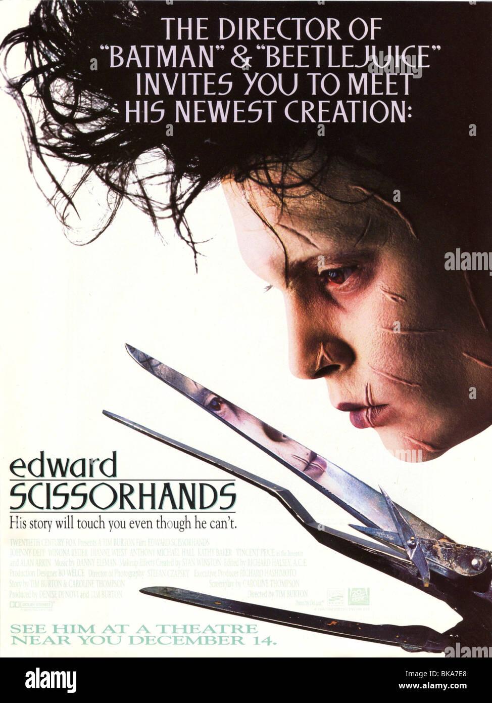 Edward Scissorhands Year : 1990 Director : Tim Burton Johnny Depp Movie poster (USA) - Stock Image