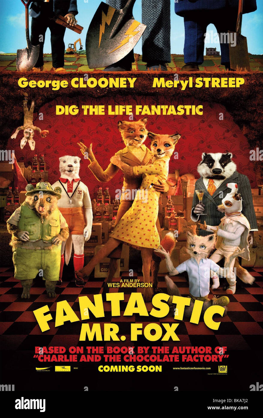 Fantastic Mr. Fox Year : 2009 Director : Wes Anderson  Animation Movie poster (USA) Based upon Roald Dahl's - Stock Image