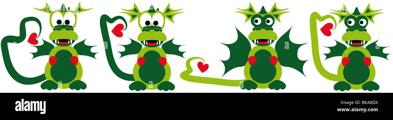 four funny cartoon love dragons - Stock Image