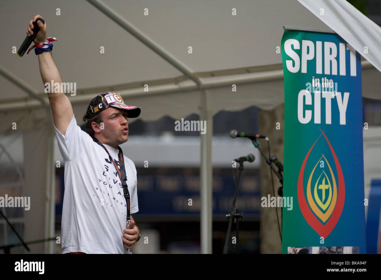 Christian rapper MC Tempo performs at Spirit in the City event Leicester Square June 2009 Stock Photo