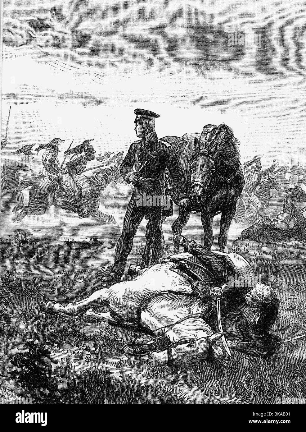Bluecher, Gebhard Leberecht von, 16. 12.1742 - 12.9.1819, Prussian general, in the Battle of Ligny, 16.6.1815, is - Stock Image