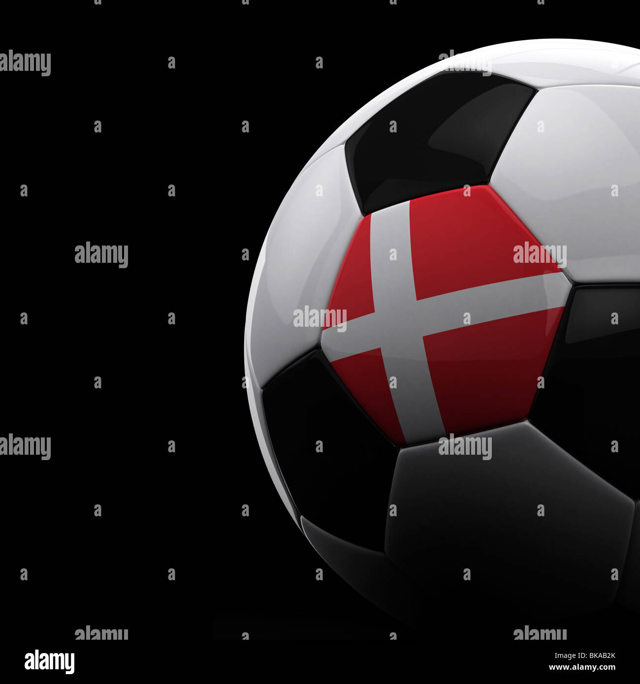 Danish soccer ball on black background - Stock Image