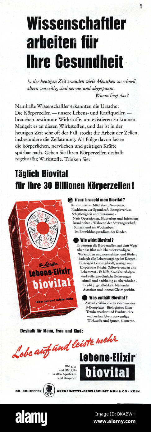 advertising, medicine, drugs, Biovital Lebens-Elixier, advertisement in magazine, 1956, Additional-Rights-Clearances - Stock Image