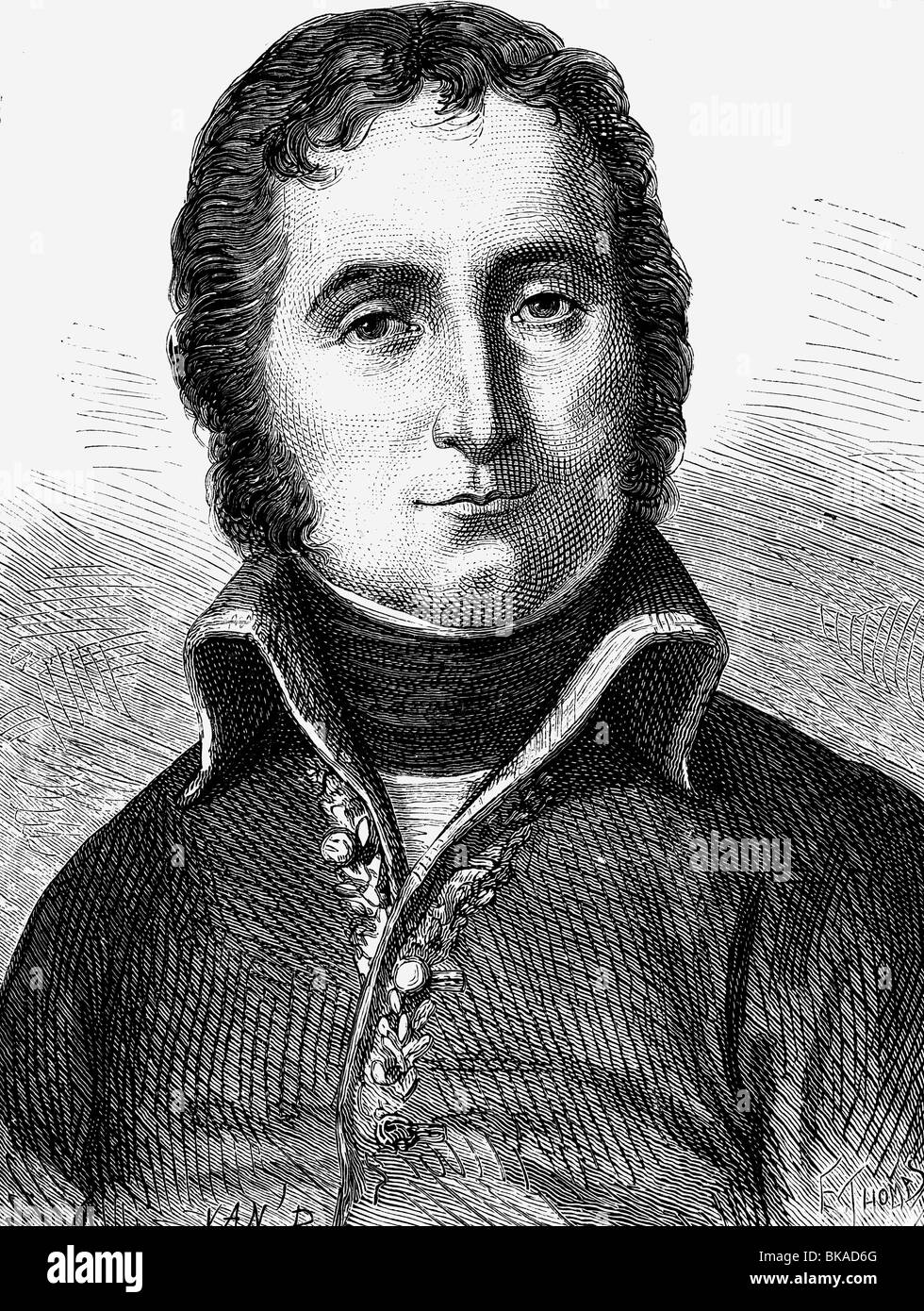 Masséna, André, 6.5.1756 - 14.4.1817, French general, portrait, wood engraving, 19th century, , Stock Photo