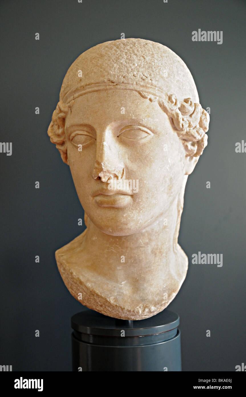 Marble sculpture carved head of Minerva Roman copy of Greek original Museum of Santa Giulia Brescai Italy Stock Photo