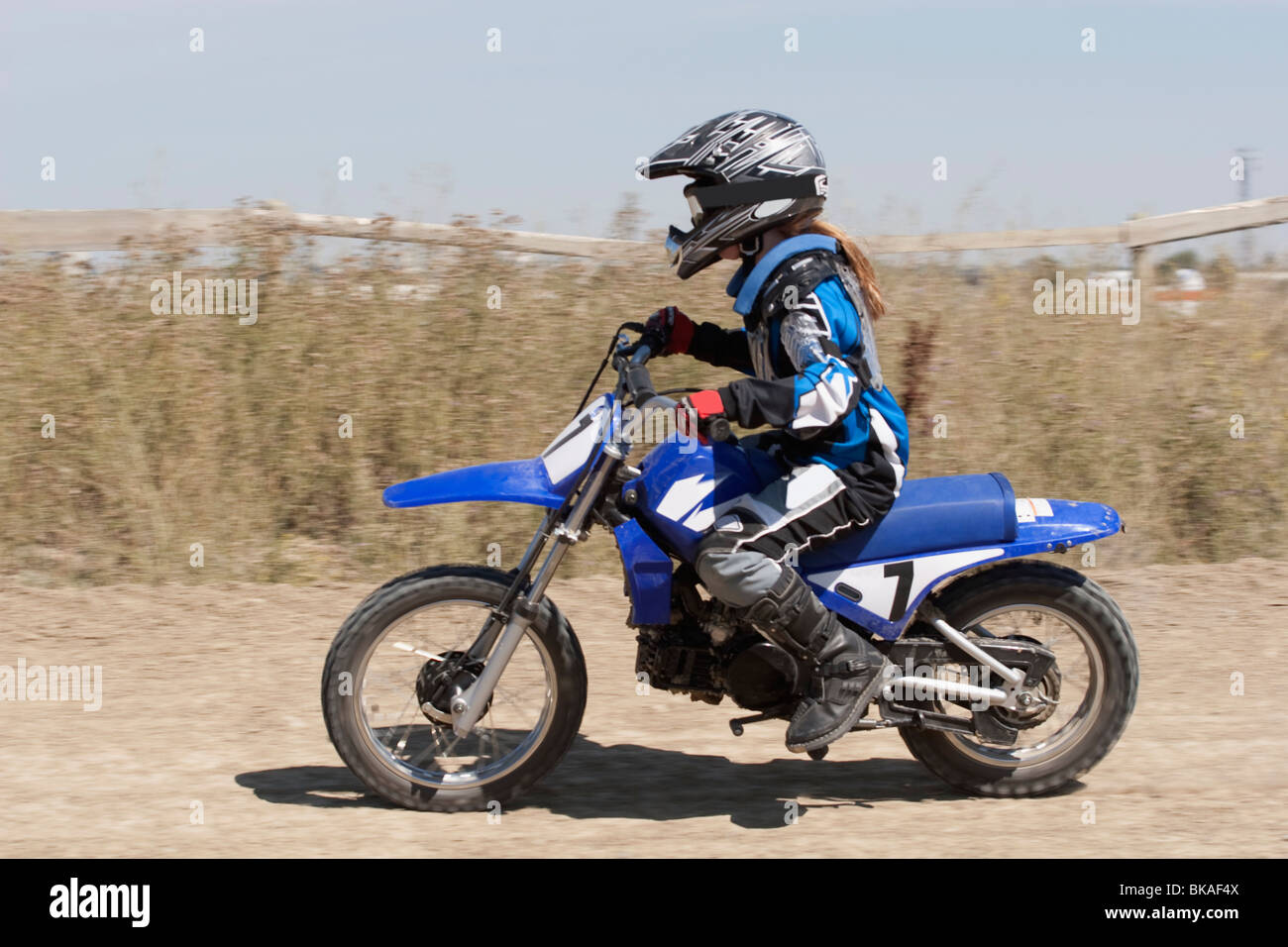 Girl On A Motorcross Bike - Stock Image