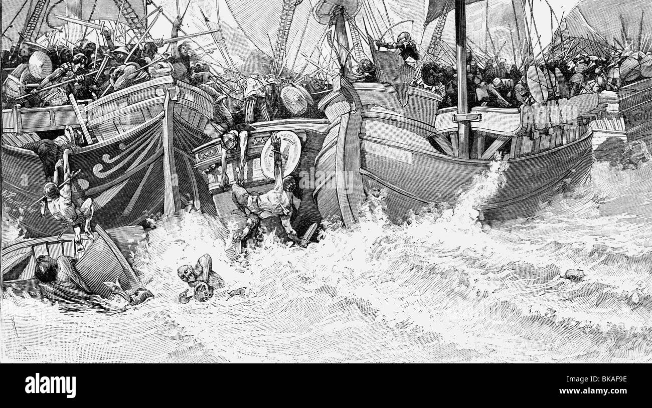 events, Hundred Years' War, 1337 - 1453, naval Battle of Sluys, 24.6.1340, wood engraving after a drawing by - Stock Image