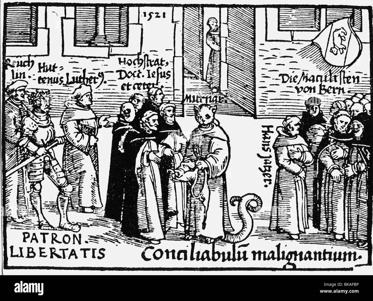 events, Protestant Reformation, 1517 - 1555, propaganda, cartoon, Martin Luther, Ulrich von Hutten and Johann Reuchlin - Stock Image