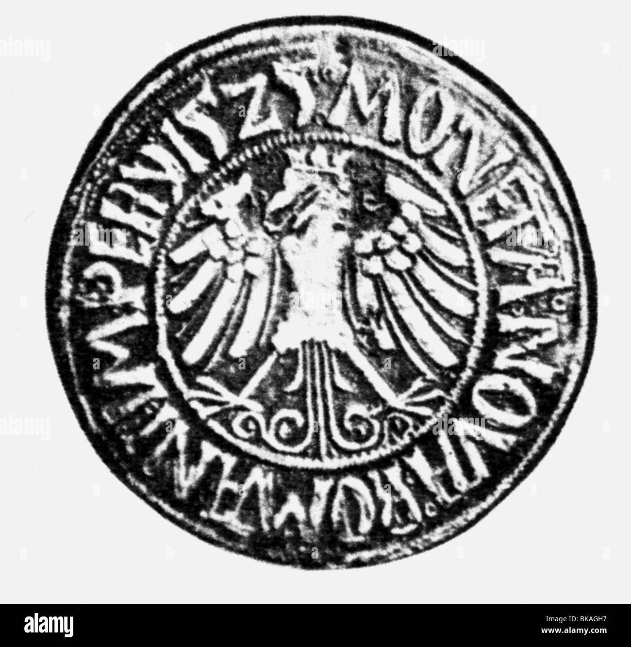 events, German Peasants' War 1524 - 1526, groschen from the time of the Peasants' War, minted in Muehlhausen, - Stock Image